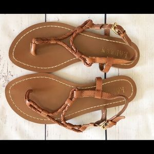 Ralph Lauren Alexa Brown Leather Sandals Size 5.5